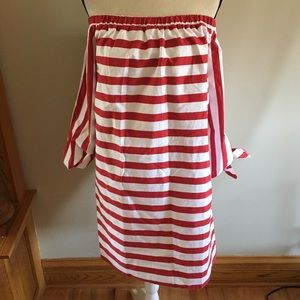NWT ASOS size14 off shoulder red stripped dress
